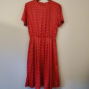 Vintage red and white polka dot dress 12 petite